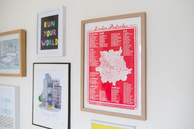 James Brown London postcodes print