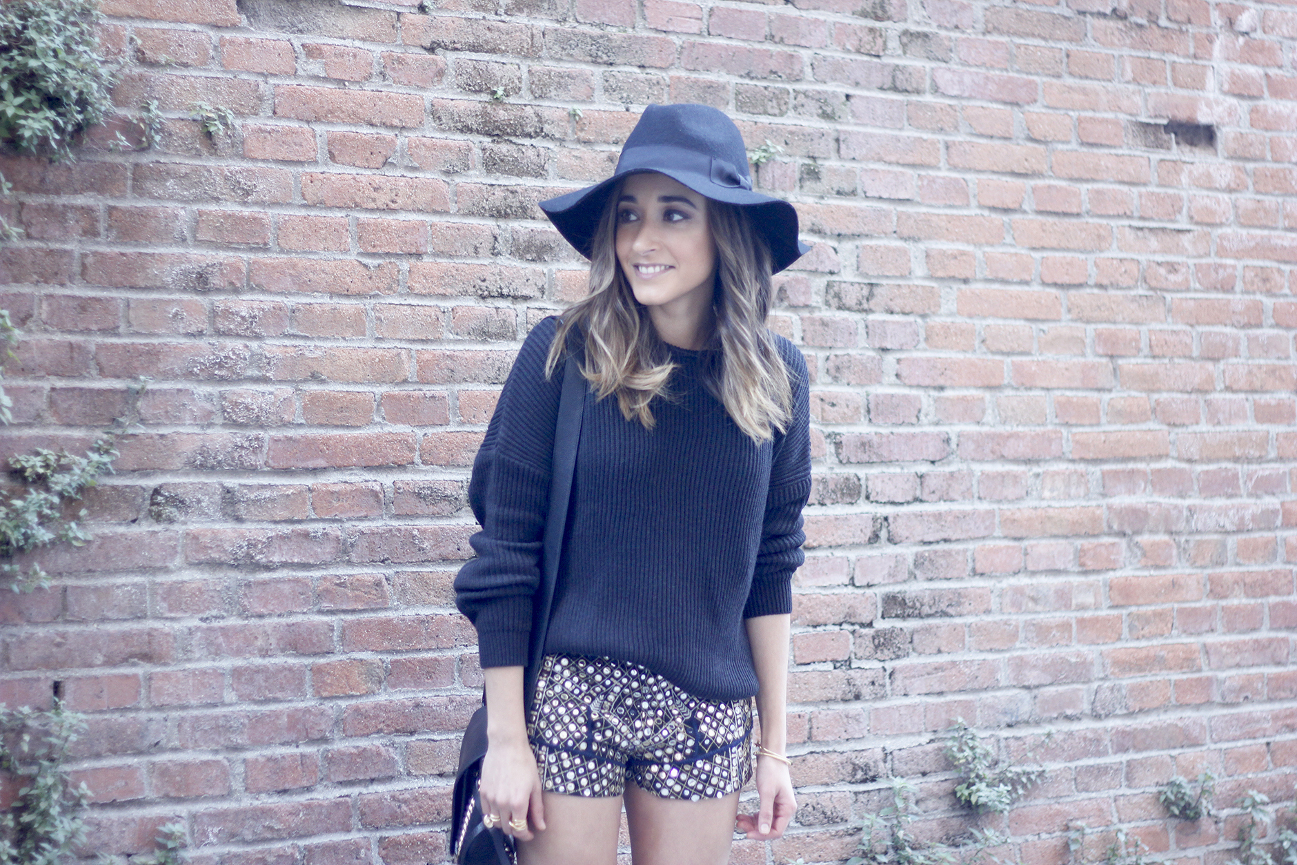 embroidered shorts black hat over the knee boots black sweater pull and bear purse coach outfit06