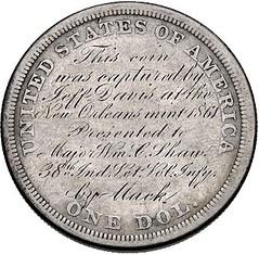 Jefferson Davis engraved half dollar