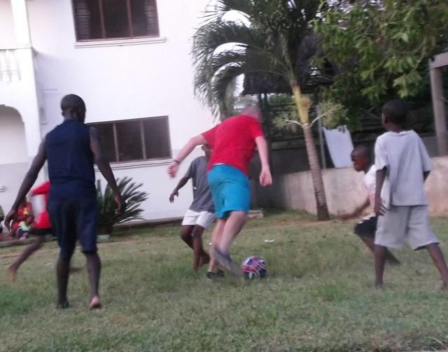 Brendan enjoying footie with the lads