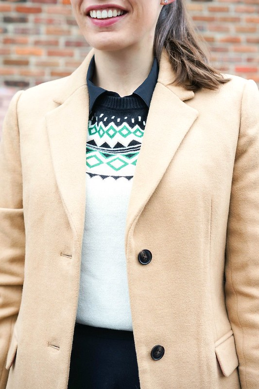 fair isle sweater + J.Crew Factory camel coat, black tights for work; Style On Target blog