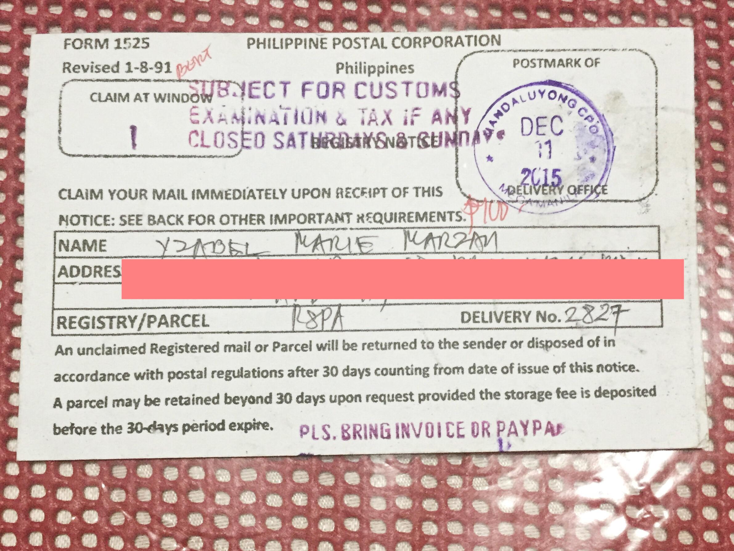philippine postal notice