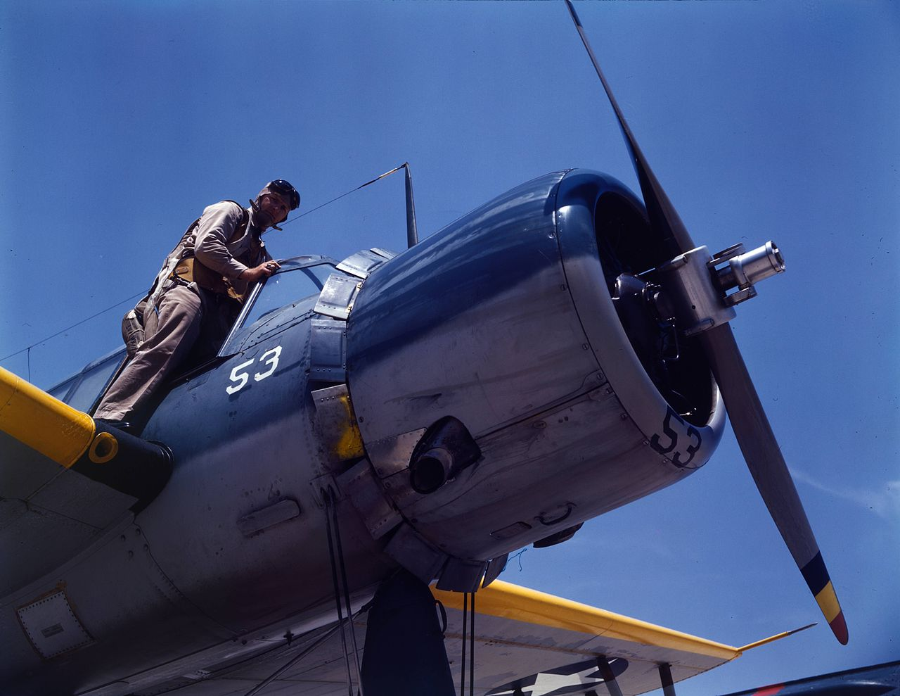 A U.S. Navy aviation cadet in training on a Vought OS2U Kingfisher at the Naval Air Station Corpus Christi, Texas (USA)