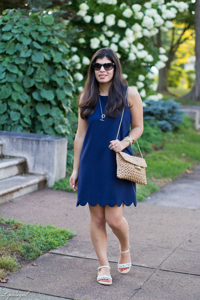 Navy scalloped hem shift dress, starfish cuff-4.jpg