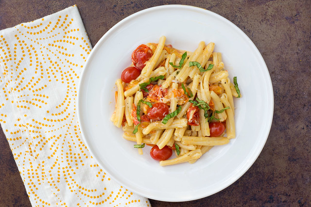 Pasta with Slow-Roasted Tomatoes and Cream Sauce