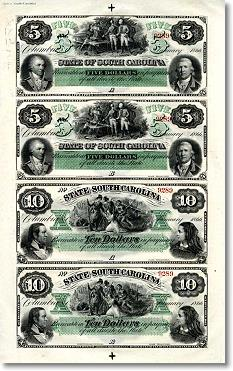 South Carolina banknotes uncut sheet
