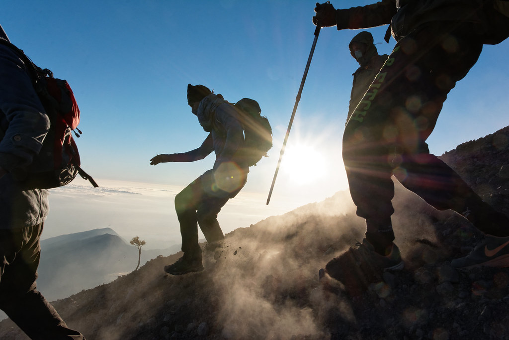 Descent from the Rinjani summit
