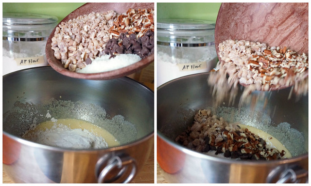 A collage: a bowlful of mix-ins ready for the batter, being held over the mixing bowl, followed by the same bowlful in mid-pour. The tiniest, most satisfying comic strip about baking.