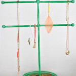 Bird Two Tier Glazed Jewellery Stand in Green