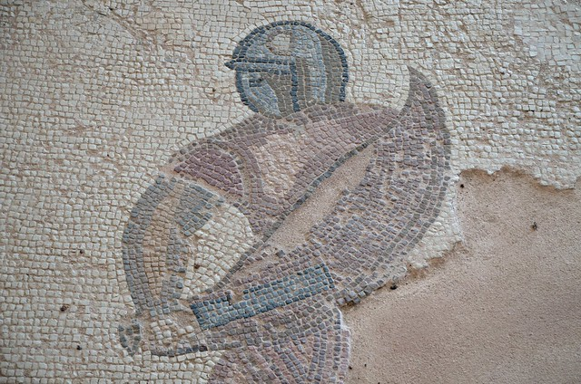 Detail mosaic depicting two gladiators in combat, his in Greek is listed above: Hellenikos, late-3rd century AD, House of the Gladiators, Kourion, Cyprus