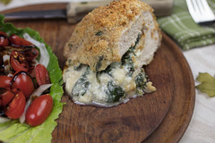 Stuffed Pork Chops with a Lettuce and Tomato Salad