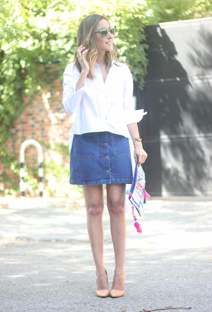 Long Shirt With Denim Skirt Summer Outfit 12