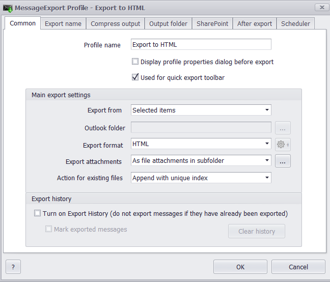 Image of the MssageExport profile editor, with the HTML profile selected.