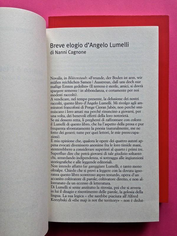 Edizioni del Verri / Collana rossa. Progetto grafico di Valerio Anceschi e Giovanni Anceschi. Incipit, a pag. 5 (part.), 1
