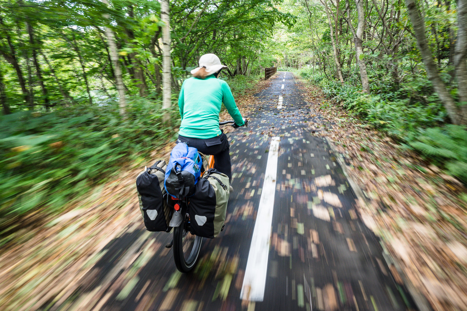 Cycling from Chitose City to Lake Shikotsu, Hokkaido, Japan