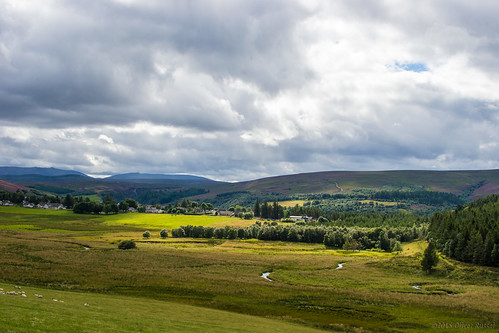 uk trees houses green clouds river landscape scotland highlands sheep hills meander oru tomintoul cairngorm 2015