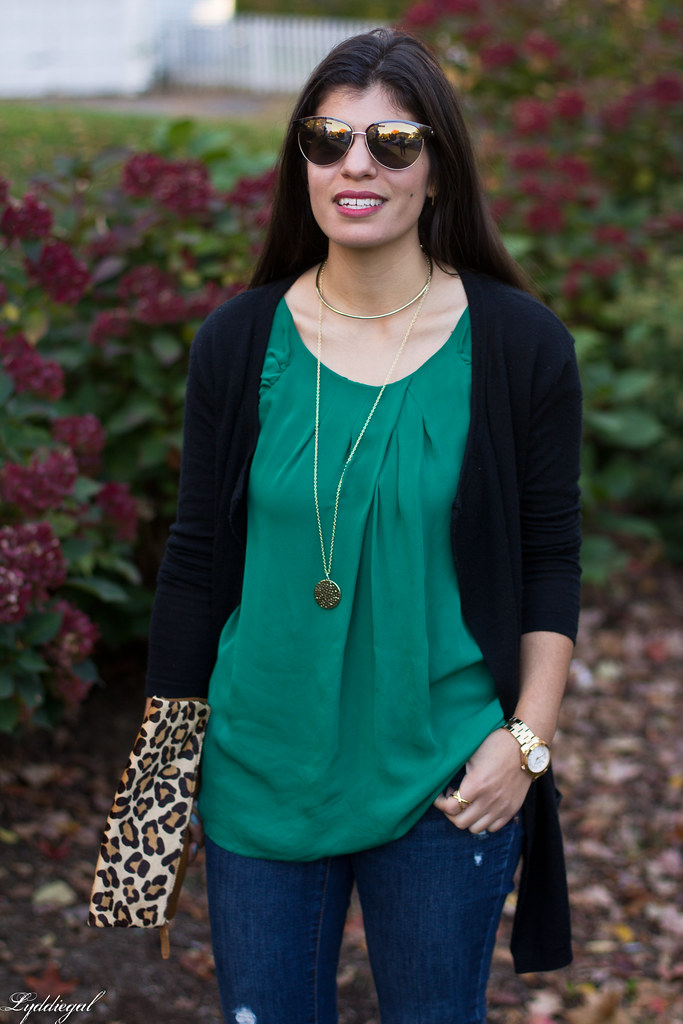 green silk blouse, black cardigan, leopard clutch-2.jpg