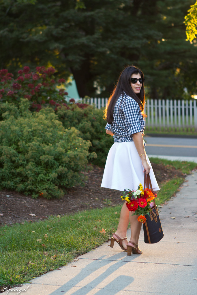 gingham knotted button down, white skirt, tote bag-1.jpg