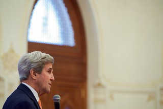 Secretary Kerry Addresses Employees Working at the U.S. Embassy Muscat