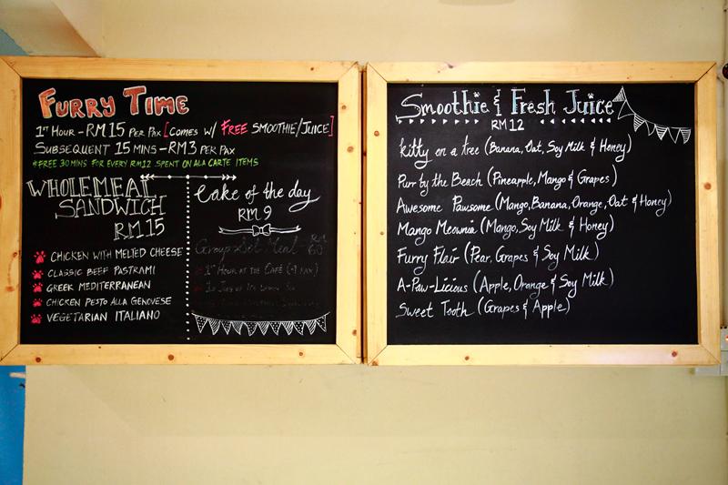 TTDI Purradise Cat Cafe Menu