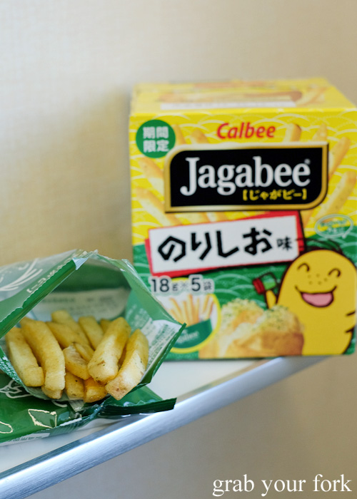 Calbee Jagabee chips with nori salt Japanese snacks