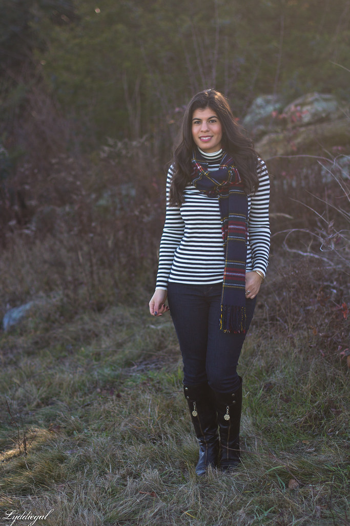 striped sweater, jeans, plaid scarf, black riding boots-1.jpg