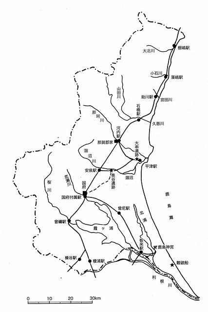 常陸国駅路の全体概念図