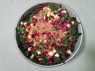 Festive Kale Salad with Sweet Apple-Cinnamon Vinaigrette & Pecan Parmesan