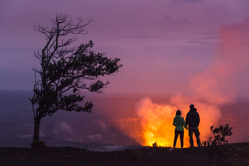 Overlooking Halemaumau Crater on Hawaii Island