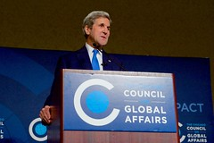 U.S. Secretary of State John Kerry delivers a speech about diplomacy today to over 1,500 members and friends of the Chicago Council on Global Affairs on October 26, 2016, at the Chicago Hilton Hotel in Chicago, Illinois. [State Department photo/ Public Domain]