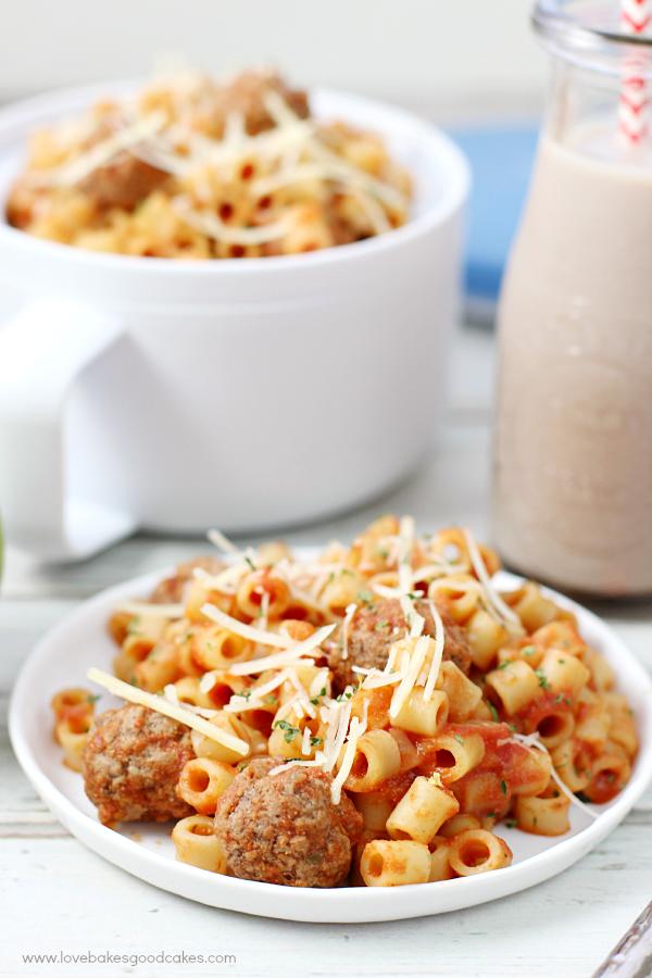Homemade Spaghetti-O's Recipe on a white plate.