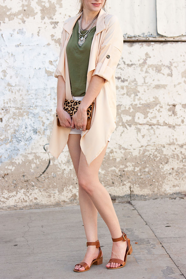 Lookbook Store, Peach Jacket, Leopard Clutch, Statement Necklace, Army Green Tee, Neutral Outfit