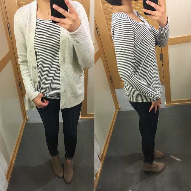 LOFT Cozy Cardigan (size S regular) and Striped Long Sleeve Cotton Tee (size SP regular)
