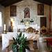 Altar de la Ermita de Santa Tecla, con la imagen de la santa al fondo