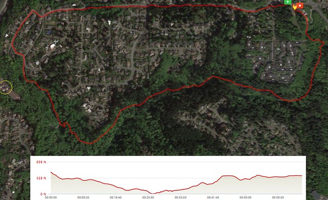 Today's awesome walk, 2.8 miles in 1:04, 6,028 steps, 319ft gain