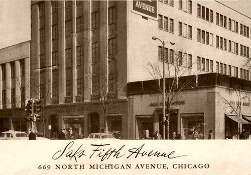Saks-Fifth Avenue postcard from  Chicago store on Michigan Ave