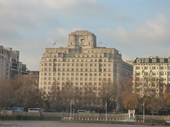 River Thames from the South Bank in London - Shell Mex House