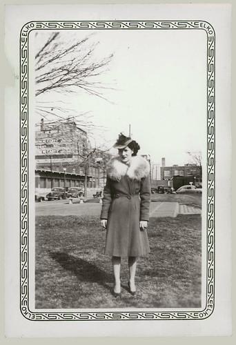 Woman with fur collar