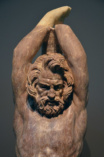 2nd c. AD statue in red marble of Marsyas, a satyr who dared challenge Apollo to a music contest , found at the Villa Vignacce in southeastern Rome during 2009 excavations carried by the American Institute for Roman Culture, Centrale Montemartini, Rome