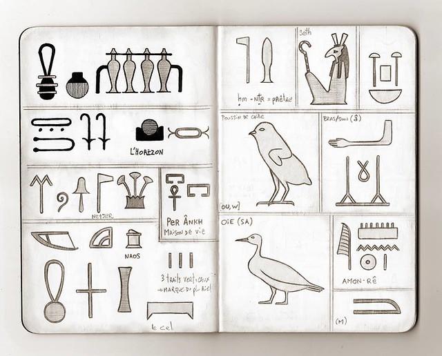 Carnet de voyage hiéroglyphique pages 04 & 05