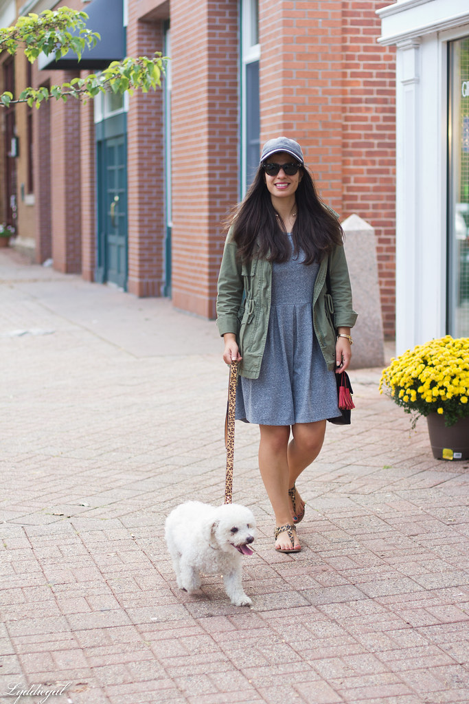 grey sweatshirt dress, field jacket, wool ball cap, dog walking.jpg