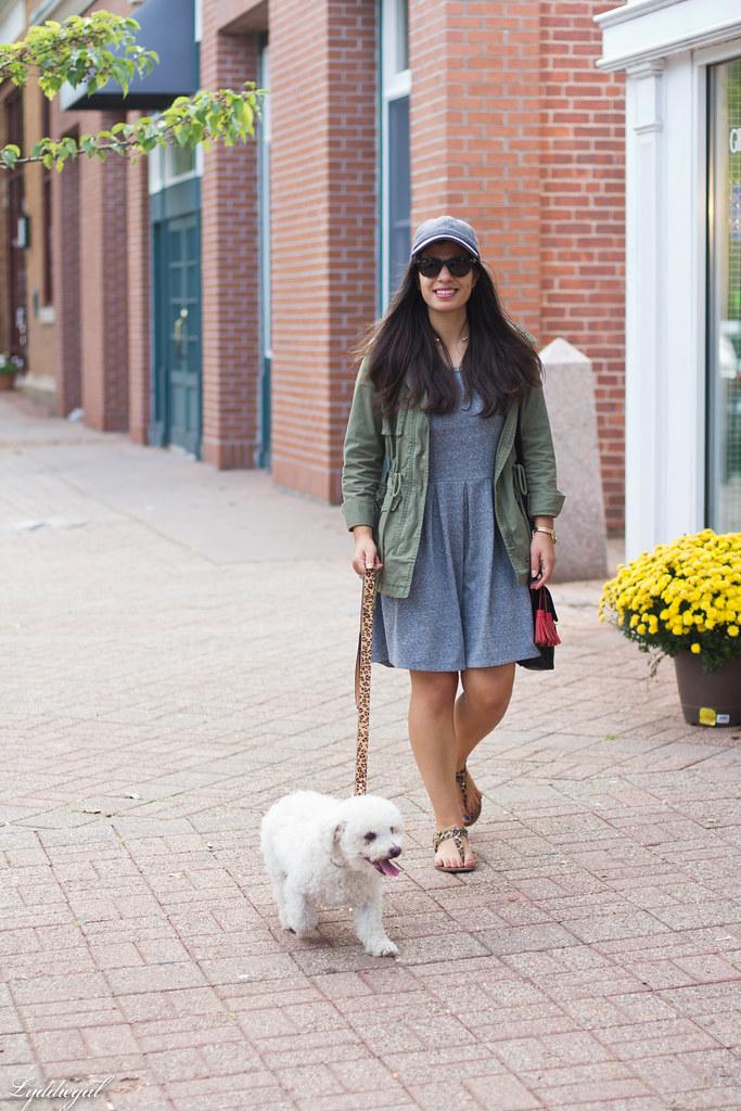 grey sweatshirt dress, field jacket, wool ball cap, dog walking.jpg