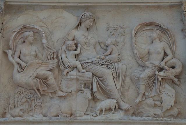 Panel of Tellus, The Ara Pacis Augustae or Altar of the Augustan Peace, built to celebrate the return of Augustus to Rome in 13 BC following campaigns in Spain and Gaul, Museo dell'Ara Pacis, Rome