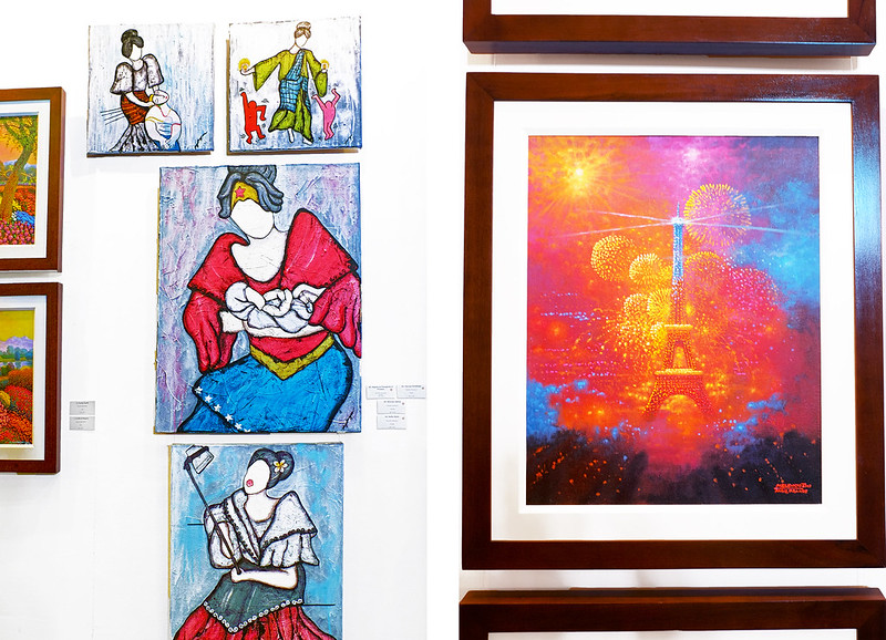 Manilart 2015 Right: Left: Acrylic Paintings by Pamela Gotangco Independence Day - Paris, France by Melencio Sapnu, Jr.
