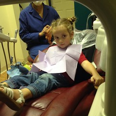 "She was a ""little nervous"" at the dentist, but she needn't be. She rocked it. #dentist #bravegirl"