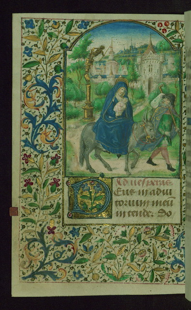 Book of Hours, Flight into Egypt and fall of an idol, Walters Manuscript W.208, fol. 100v