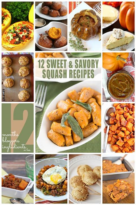 12 Sweet and savory squash recipes collage.