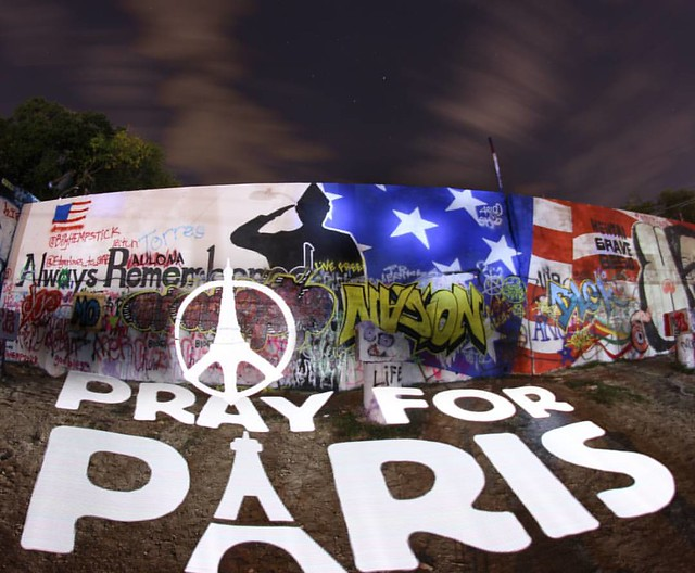 Always Remembered #sprayforParis mural at #TheHopeGallery in #Austin Texas. Keep the internal light alive & use it against hatred & adversity at all times! #NotPhotoshop #longexposure #photo #pixelstick #prayforparis #sprayforparis #prayforfrance #mural #
