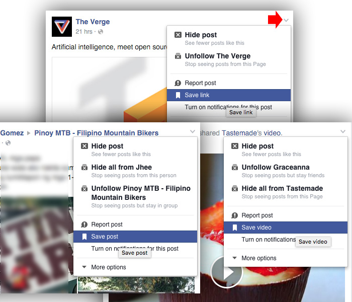 How to save link, post or video on Facebook
