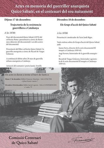Actes en memòria del centenari de Quico Sabaté, 17 i 18 de desembre a Barcelona